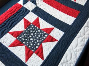 flag quilt closeup