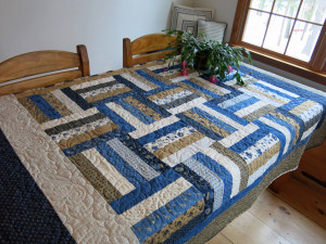Blue and tan Shelter quilt